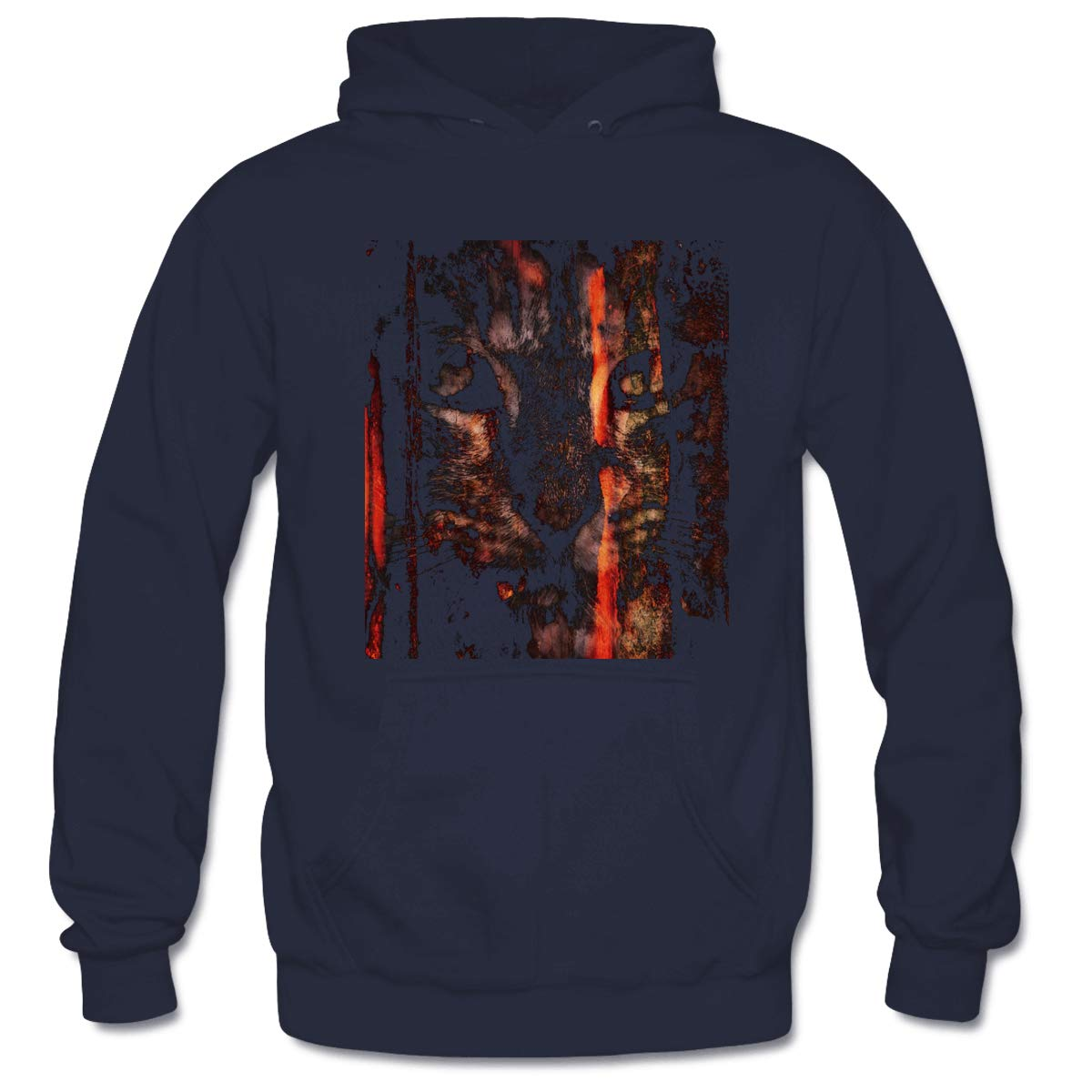 Mens Dark Cat Grunge Hooded Sweatshirt Funny Printed Pullover Hoodies Classic Long Sleeve T Shirt Tops