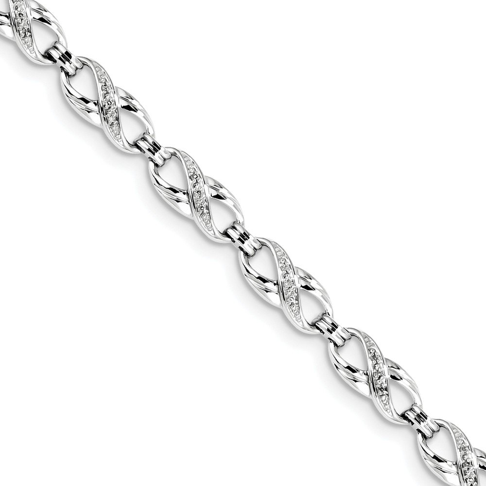 Sterling Silver Diamond Bracelet 7.5'' - with Secure Lobster Lock Clasp (1/10ct.)