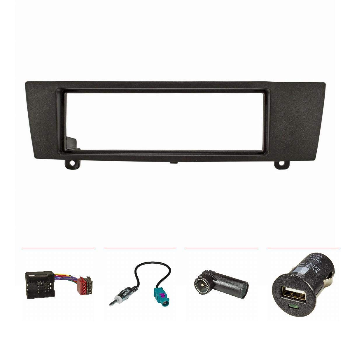 Tomzz Audio/® 2404-036 set con caricatore USB Z4 E89 Mascherina per autoradio per BMW Serie 1 E87 serie 3 E90 colore: nero