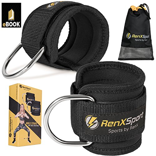 Ankle-Straps-for-Cable-Machines-and-Resistance-Bands-Pair-of-Adjustable-Padded-Cuffs-for-Men-Women-Carry-Bag-Digital-guide-for-Weight-Lifting-and-Weight-Training