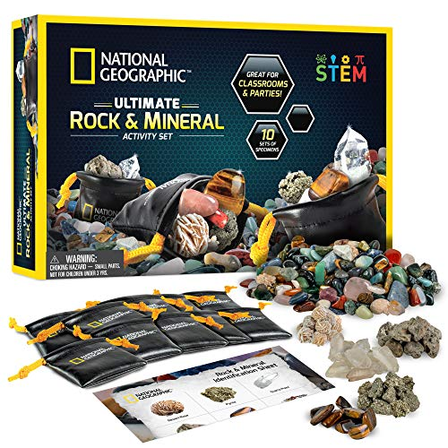 NATIONAL GEOGRAPHIC Rock Party Set - 1.25 Lb Assorted Rocks & Gemstones, 10 Specimens Each of Pyrite, Desert Rose, Quartz, Pumice, & Tiger'S Eye, 10 Individual Carry Bags & Identification Guide