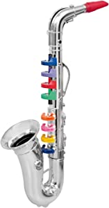 Click N' Play Saxophone with 8 Colored Keys, Metallic Silver