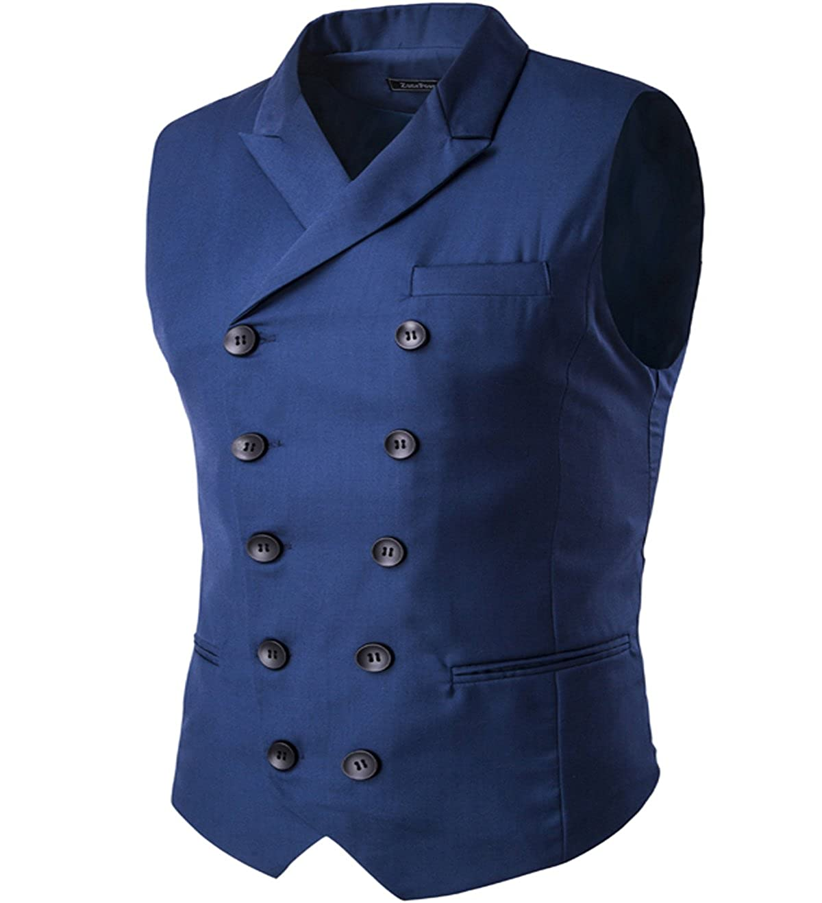 Mens Vest Fashion Slim Fit Double-Breasted Solid Vest Blue 1 Small