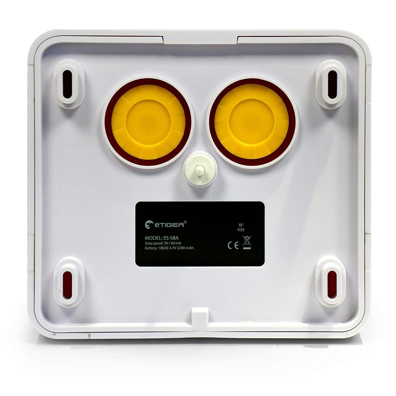 Blanc sir/ène solaire sans fil eTIGER ES-S8A