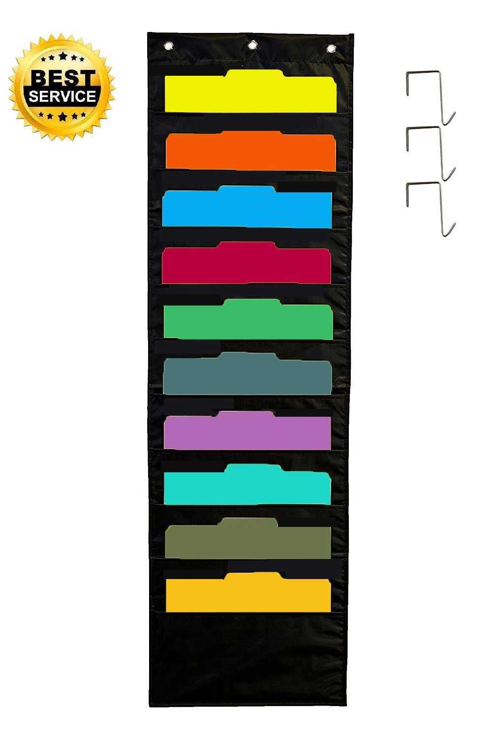 GGUO Wall Storage Pocket Chart with 10 Pockets & 3 Hangers Cascading Wall Charts, Best Wall Storage Organizers for Home Organization, School Pocket Chart, Office Bill Filing, Homework and More(Black)
