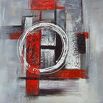Tableau Abstrait Carré Gris Et Rouge Dimensions 8080 Cm Peinture