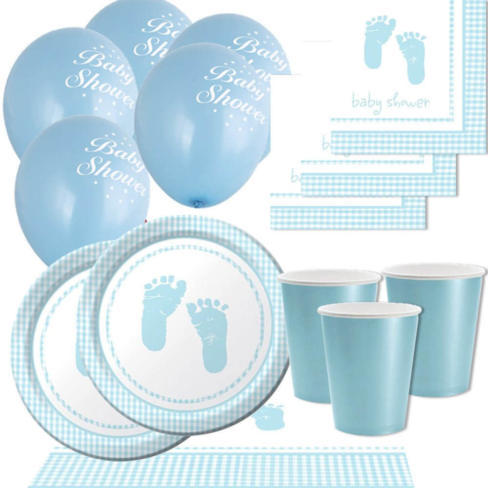 Party Savvy PS43912 Baby Boy Gingham Feet Basic Party Pack by Party Savvy by Party Savvy
