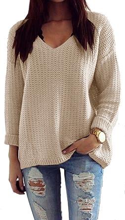 best service d4435 02a13 Mikos*Damen Pullover Winter Casual Long Sleeve Loose Strick ...