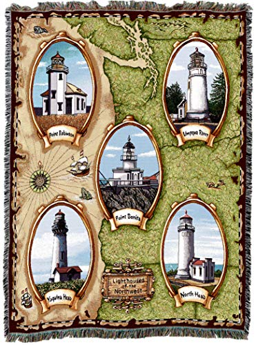 Pure Country Weavers | Lighthouses of The Northwest Point Robinson Bonita Umpqua River Yaquina North Head Woven Tapestry Throw Blanket Collector Gift with Fringe Cotton USA 72x54