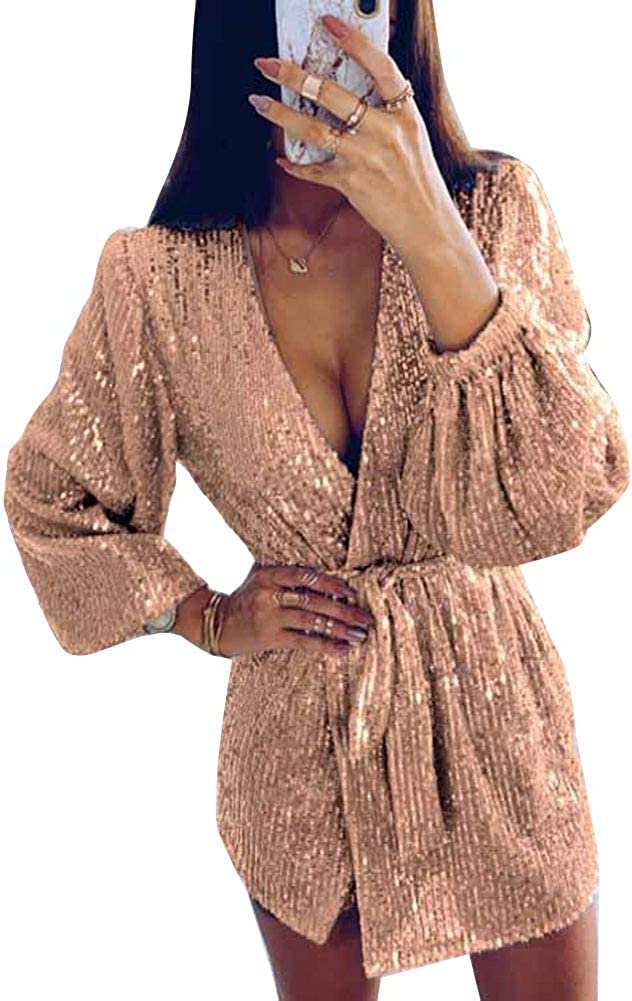 Women V-Neck Irregular Skirt Sequin Sparkle Glitter Metallic Blazer Tuxedo Wrap Evening Dress