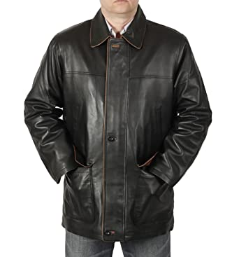 Simons Leather Men's 3/4 Length Leather Coat with Trim at Amazon ...
