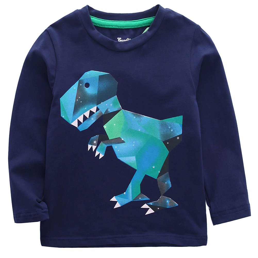 Frogwill Toddler Boys Dinosaur Long Sleeve T Shirts Top Tee Size 2-7 Years (5T, Navy)