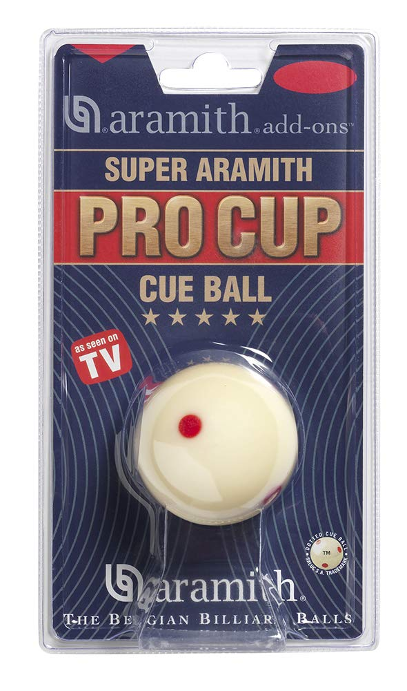 """Aramith 2-1/4"""" Regulation Size Billiard/Pool Ball: Super Pro Cup Cue Ball with 6 Red Dots"""