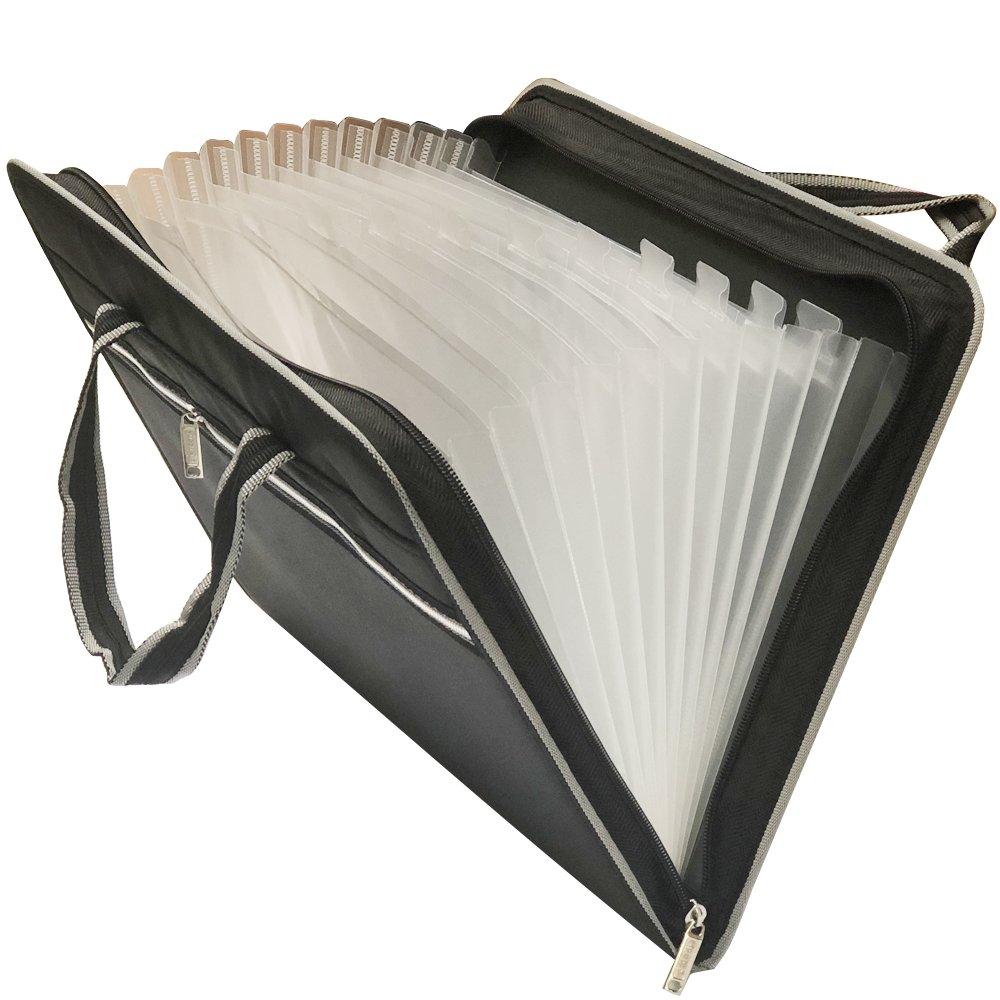 HIHUHEN Elegant 13-Pockets Fabric Expanding File Folders Business Accordion Document File Paperwork Organizer Storage, A4 Letter Size, Zipper Closure and Handles (Folder Black ST)