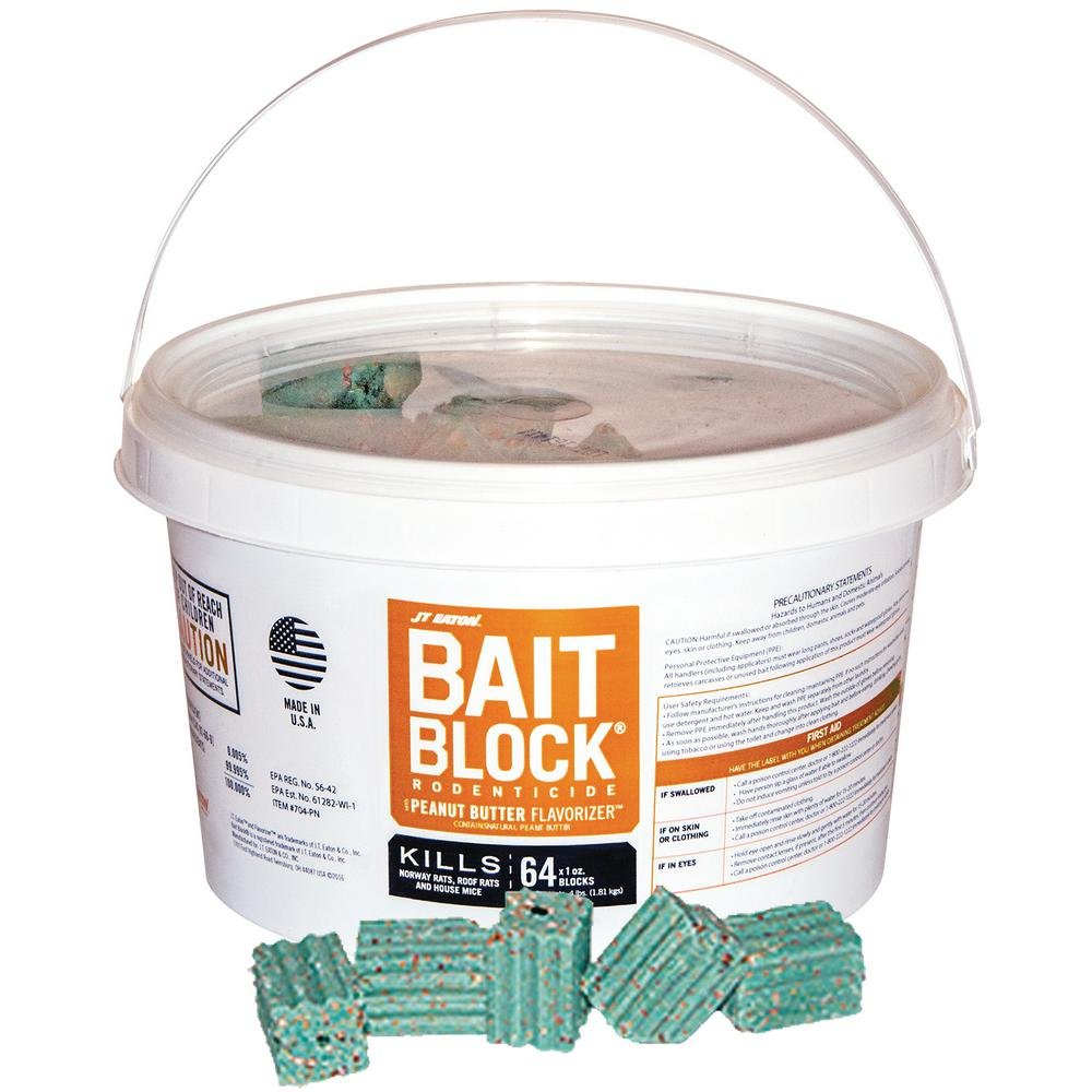 JT Eaton 704-PN Bait Block Rodenticide Anticoagulant Bait, Peanut Butter Flavor, For Mice and Rats (Pail of 64)