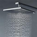 Vantory VD38 8 Inches Rainfall Polished Chrome Shower Head Fixed Mount with Silicone Nozzles Swivel Metal Ball Connector