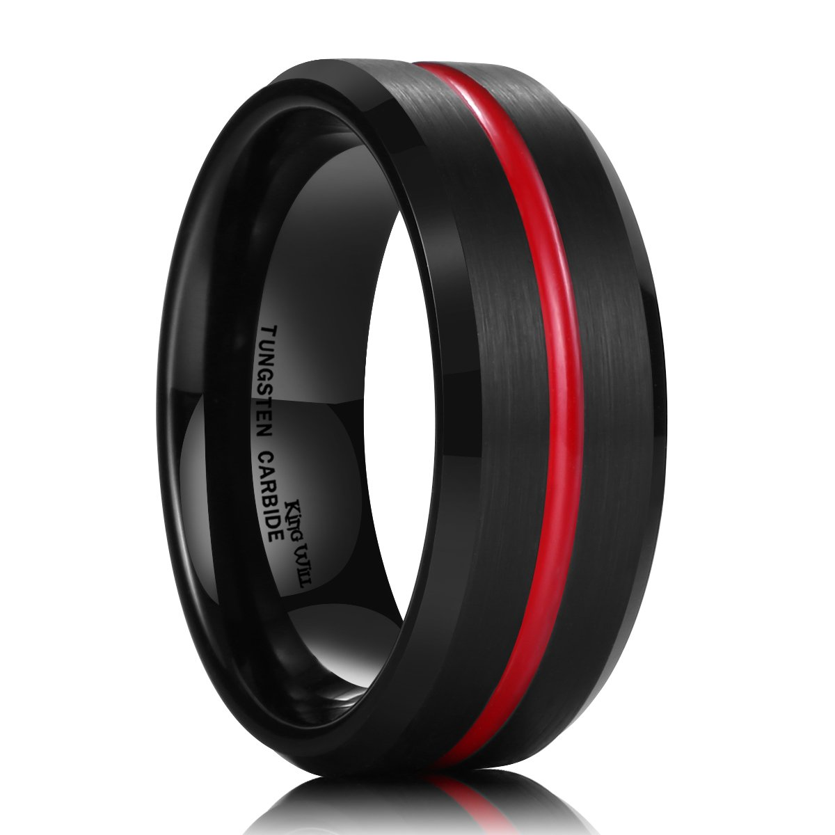 King Will Thin Red Groove Black Brushed Tungsten Carbide Wedding Band Ring Comfort Fit 10.5