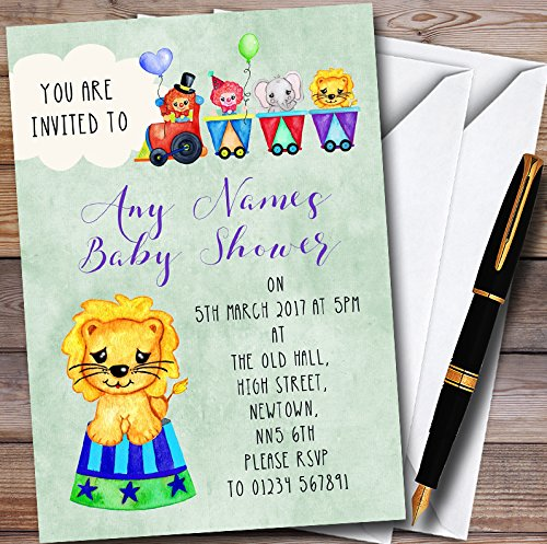 10 x Boys Watercolour Circus Animals Personalized Baby Shower Invitations by The Card Zoo