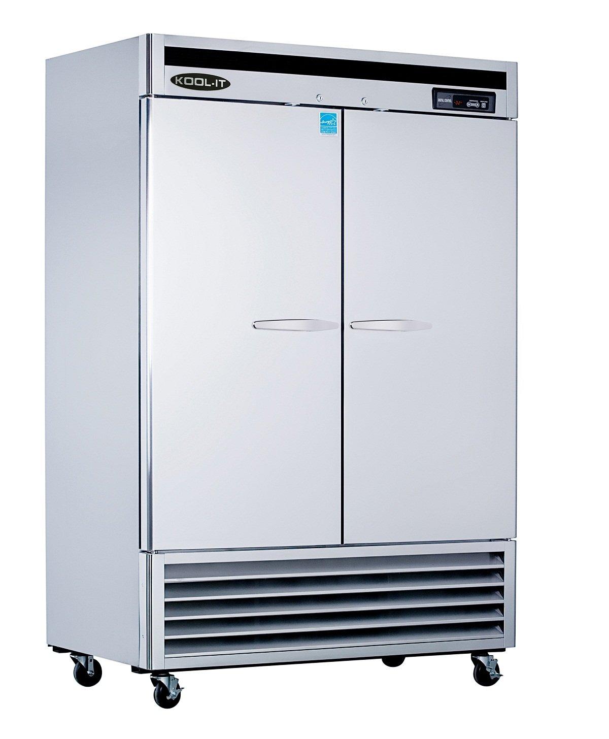 Kool-It KBSF-2 Stainless Steel Double Door Freezer Bottom Mount Compressor, 53-115/128'' Width x 82-89/128'' Height x 31'' Depth