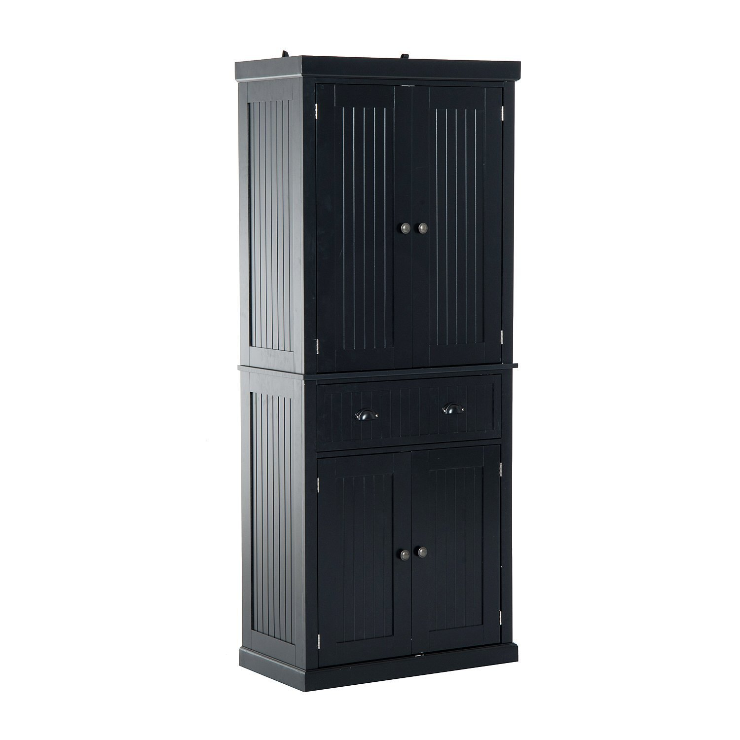 "HOMCOM 72"" Traditional Colonial Standing Kitchen Pantry Cupboard Cabinet - Black"