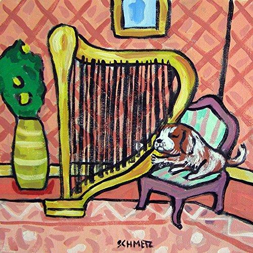Cavalier King Charles Spaniel playing a Harp dog art tile coaster gift