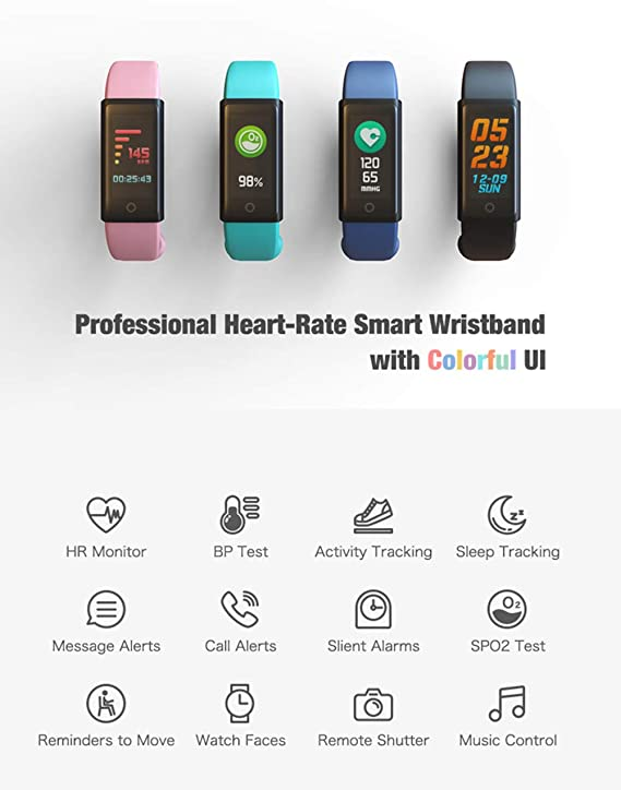 Amazon.com: WJ Fitness Tracker, Activity Tracker Watch with Heart Rate Monitor, Waterproof Smart Fitness Band with Step Counter, Calorie, Pedometer Watch ...