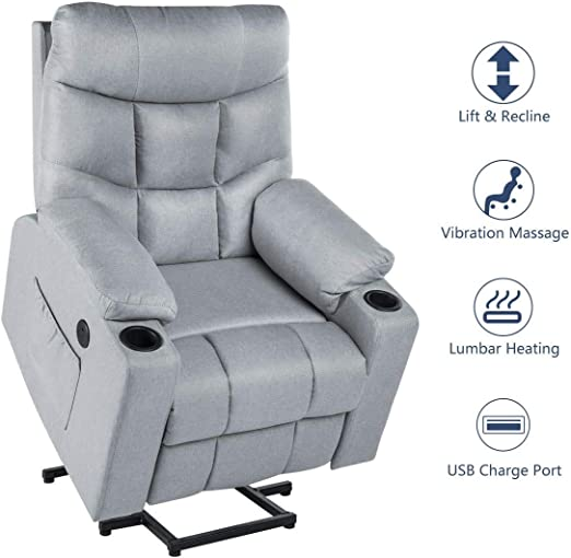 Esright Electric Gray Recliner Power Lift Chair for Elderly Heated Vibration Fabric Sofa Motorized Living Room Chair with Side Pocket and Cup Holders,