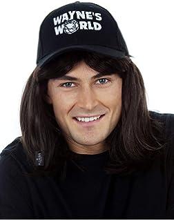 ALLAURA Waynes World Wig with Hat – Wayne Campbell Hair Cap - Black Mullet  Wigs Men b6f57d46b7b