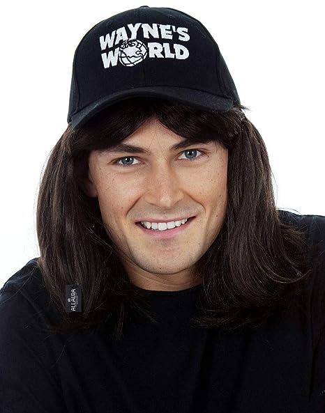 Allaura Waynes World Wig With Hat Wayne Campbell Hair Cap Black Mullet Wigs Men