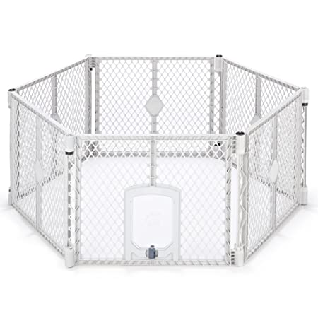"""North States My Pet 18.5 Sq. Ft. Petyard Passage: 6 Panel Pet Enclosure With Lockable Pet Door. Freestanding, 7 Sq. Ft.   18.5 Sq. Ft. (26"""" Tall, Light Gray) by North States Pet"""