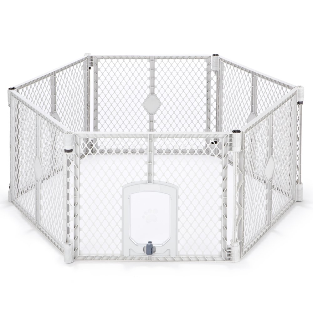 North States MyPet 18.5 Sq. Ft. Petyard Passage: 6-panel pet enclosure with lockable pet door. Freestanding, 7 sq. ft. - 18.5 sq. ft. (26'' tall, Light gray) by North States Pet (Image #1)
