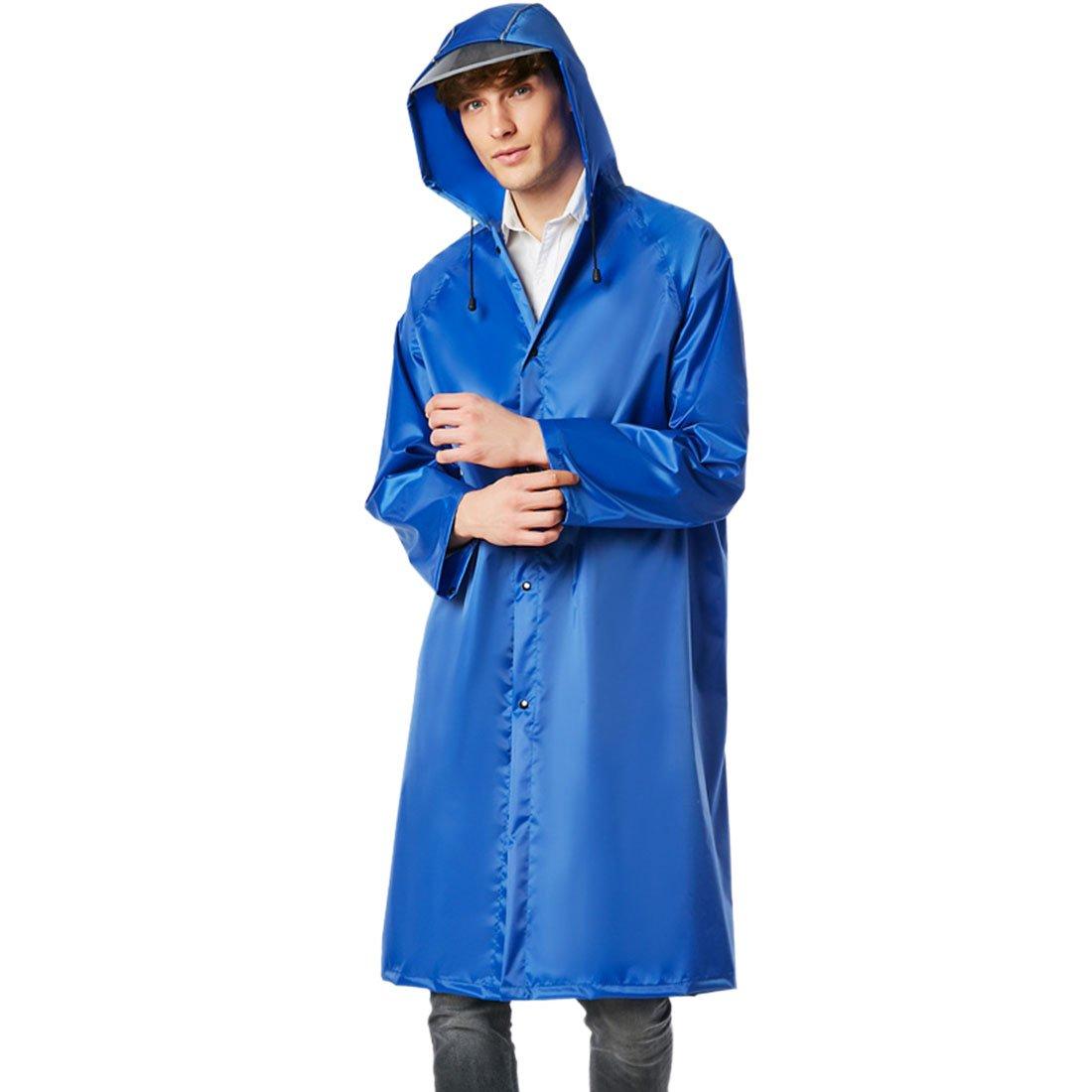 YUENA CARE レインコート ロング アウトドア レインポンチョ ユニセックス 大人用 レインウェア フード付き レインジャケット M ブルー BE1013-0167-2-2M-US B07KRTGGJT ブルー Medium