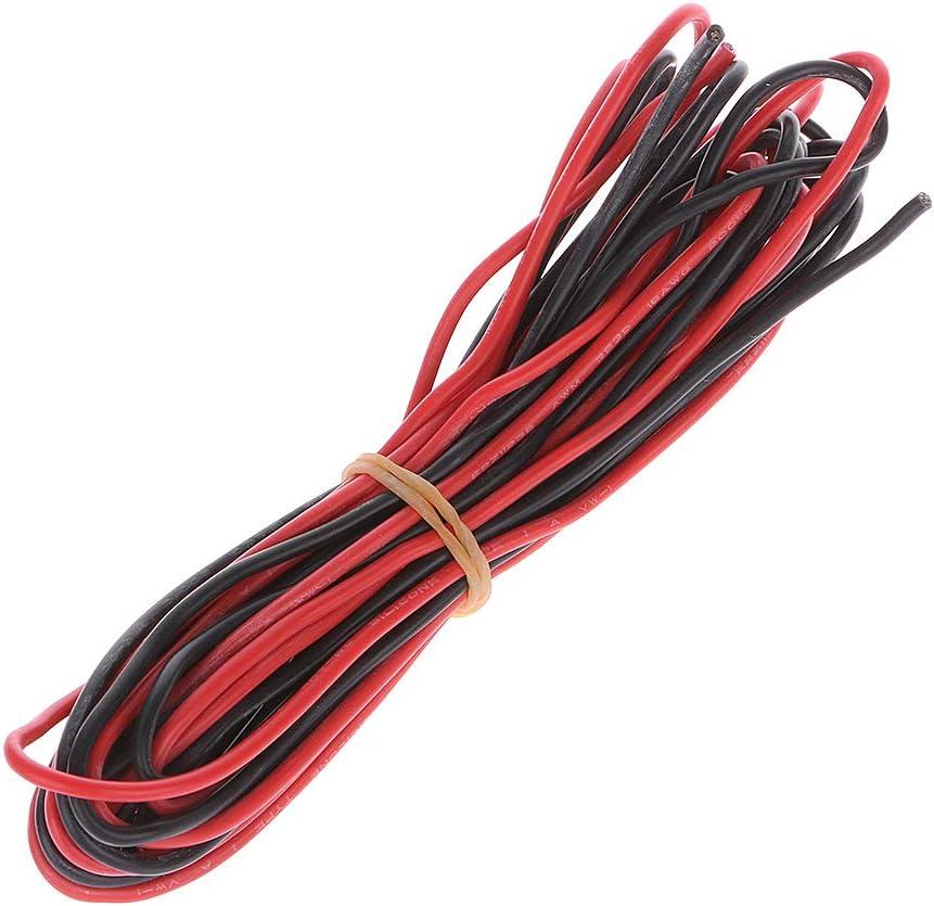 Junlinto, 3 Metros Rojo + Negro Cable de Silicona 18AWG Cable Suave a Prueba de Calor RC Lipo Batería ESC