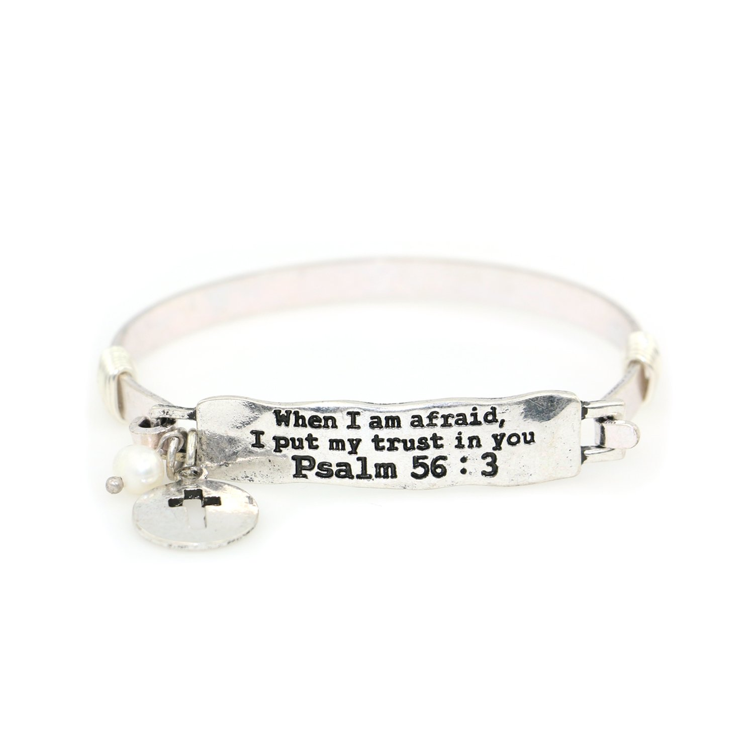 """When I am afraid, I put my trust in you"" Psalm 56:3 Handmade Beautiful Christian Bangle Bracelet with Wire Design and Cross punch out Charm and Bead"
