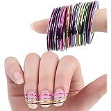 Lumanuby 30x Nail Sticker Autocollants à ongles Beau Motif de Nail Sticker Tattoo Stickers Bande magnétique Pour Ongles Nail Outils Artistiques Bricolage décoration d'ongles motif aléatoire