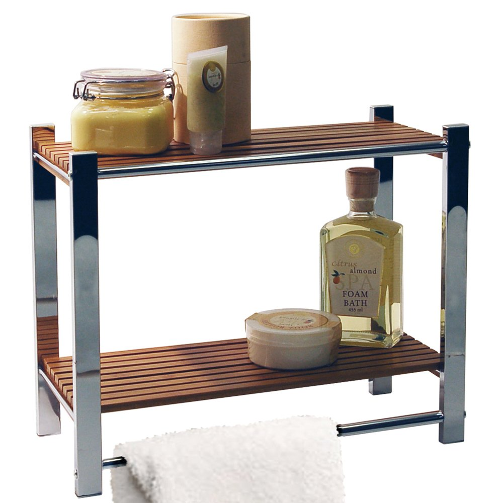 BAMBOO - Bathroom Wall Storage Shelf / Towel Rail - Silver / Natural ...