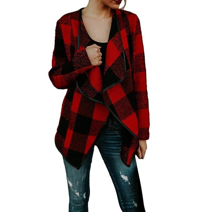 Outerwear Mujer Primavera Otoño Abrigos Elegantes Moda Vintage Abrigos A Cuadros Niñas Ropa Manga Larga Volantes Chal Cardigan: Amazon.es: Ropa y accesorios