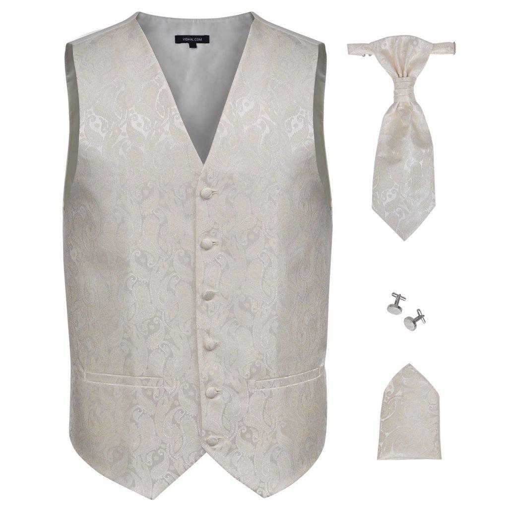 Festnight Paisley Herren Hochzeitswesten Set mit Weste Krawatte Einstecktuch Manschettenkn/öpfe Hochzeitsmode Gr/ö/ße 48 Cremefarbe