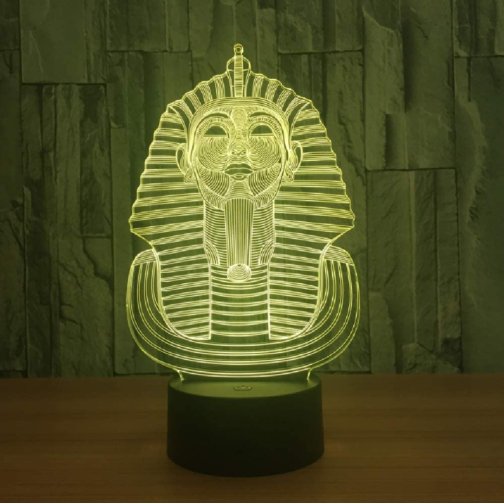 La Gran Esfinge de Egipto Modelo Lámpara 3D LED Acrílico Luz de noche con 20 colores Luz para decoración del hogar Lámpara Niño Niño Regalo de Navidad Smartphone Control Bluetooth