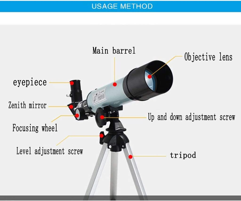 50mm Aperture 400mm AZ Mount Astronomical Refractor Telescope JHLD Telescope Portable Travel Telescope with Carry Bag-Gold