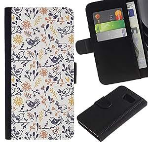 For Samsung Galaxy S6 SM-G920,S-type® Porcelain Blue Yellow Wallpaper Pattern - Dibujo PU billetera de cuero Funda Case Caso de la piel de la bolsa protectora