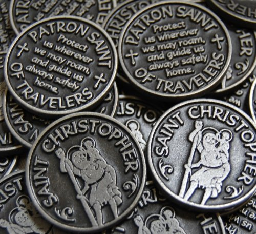 Set of 10 Saint Christopher Patron of Travelers with cross Pocket Token Coins