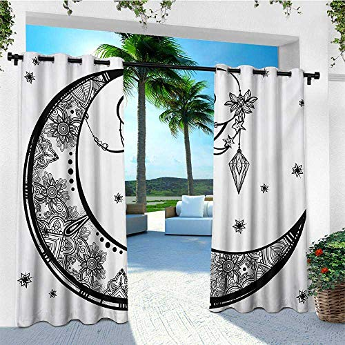 leinuoyi Tribal, Outdoor Curtain Ends, Paisley Floral Moon Crescent Gem Figures Ethnic Astrology Inspired Design Print, Fabric by The Yard W96 x L108 Inch Black and White