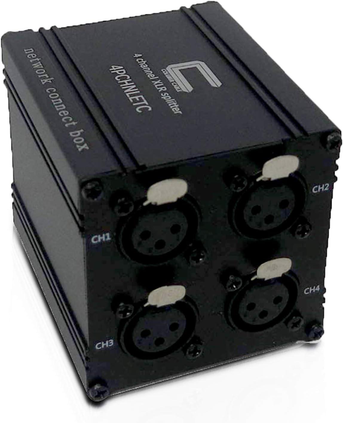 Pasivo 4 Canales XLR Hembra a Ethercon Stage Box Snake Runs XLR/AES/DMX Señales de Audio sobre un Solo Cable Ethernet Cat | Portátil, Compacto Comodidad para Live Stage y Estudio de grabación: