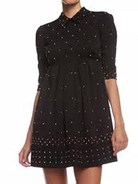 new style 3f85d 1c9ac Abito Mangano donna vestito nero con borchie black dress ...