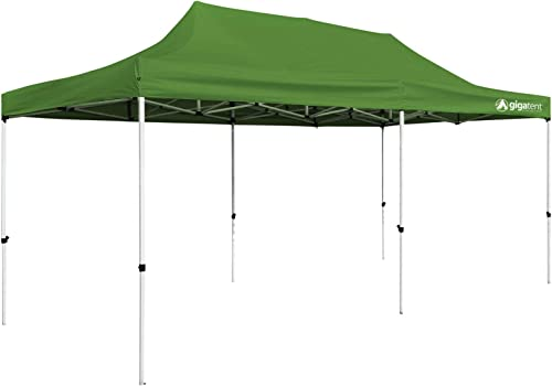 GigaTent POP UP Canopy 20 X 10 Powder Coated Steel Frame Height UP to 130 Heavy Duty Weatherproof Easy Set UP Green