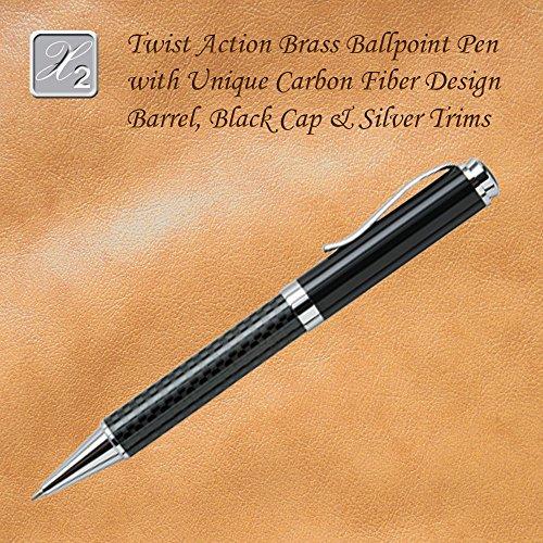 Twist Action Ballpoint Pen With Carbon Fiber Design Barrel, -