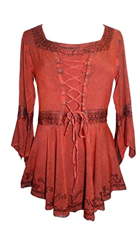dfffbb6c74 Agan Traders 301 NB Square Neck Corset Handkerchief Blouse Tunic Top  B Red   M