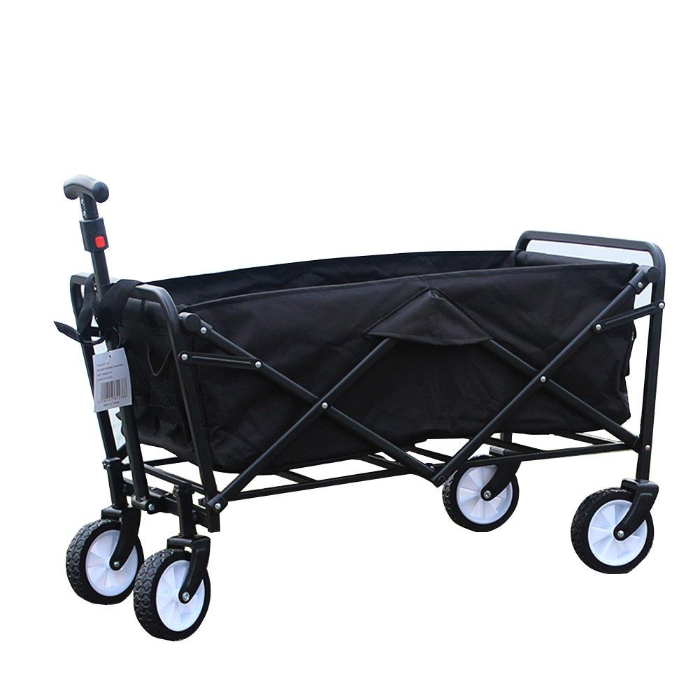 キャリーカートアウトドアワゴン小さい 車を引く 折りたたみができる 一輪車 多機能 耐水洗い オックスフォード布 鉄棒 3色 (色 : Black, サイズ さいず : 77x49x45cm) B07FYG61V8 77x49x45cm|Black Black 77x49x45cm