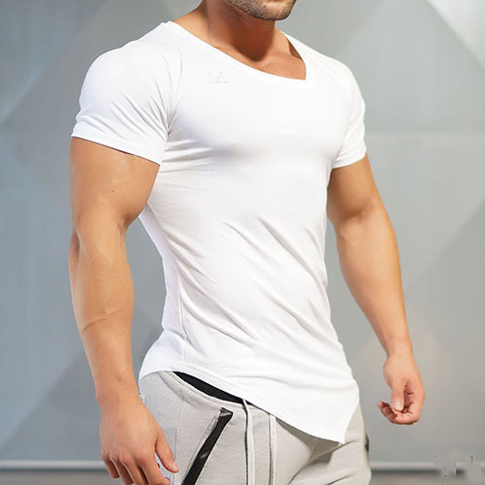MISYAA White T Shirts for Men Irregular Hem Solid Tank Top Breathable Short Sleeve Sweatshirt Muscle Tee Mens Tops